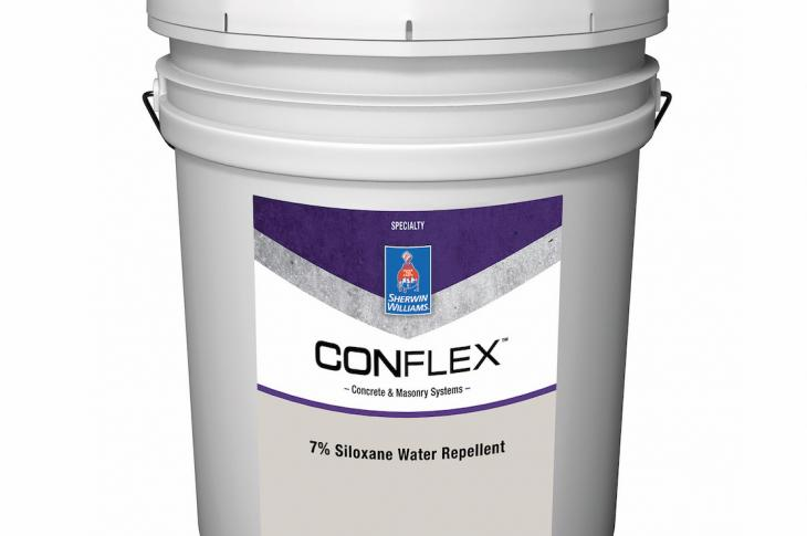 Sherwin-Williams recently updated its line of concrete and masonry coatings, including 19 ConFlex solutions color-coded for easier reference. The ConFlex Proven Performance Lineup includes ConFlex Block Filler for prep work (labeled in blue); an array of nine, green-labeled finishing products, including acrylic coating, waterproofer, elastomeric coating, and solvent-borne smooth coating; and purple-labeled 7 percent Siloxane Water Repellent (shown).