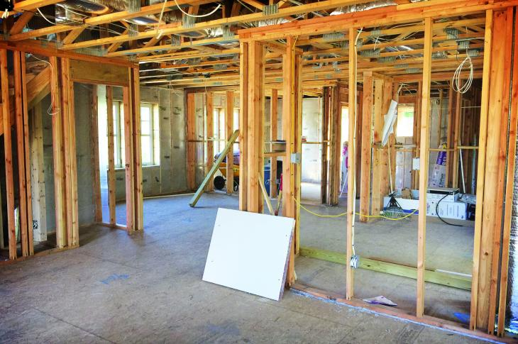 Interior framing, buried ducts, photo courtesy United Way