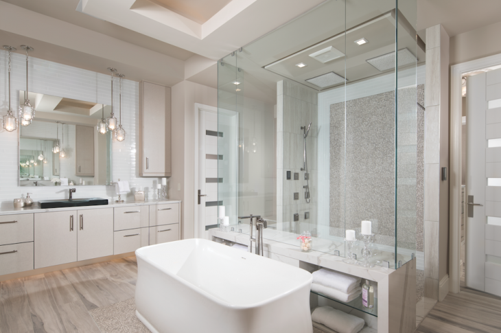 In The New American Home, high-tech showers, shapely tubs, and elegant fittings and fixtures throughout the home are by Kohler, offering spa-caliber comforts and a softer take on modern style.