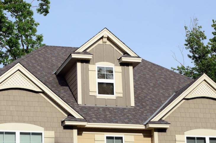 Closeup of a home's gable