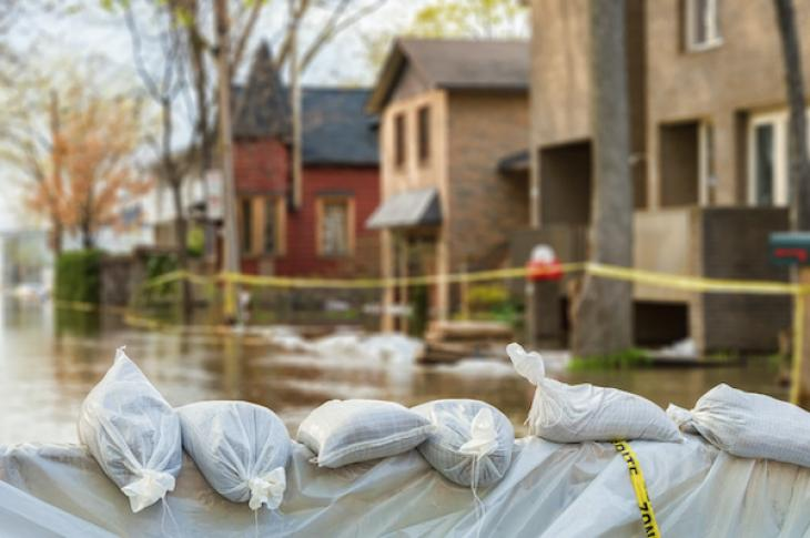 Flood protection sandbags with homes in back