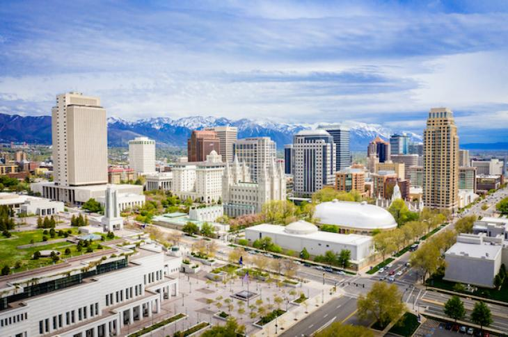 Wide shot of downtown Salt Lake City, Utah
