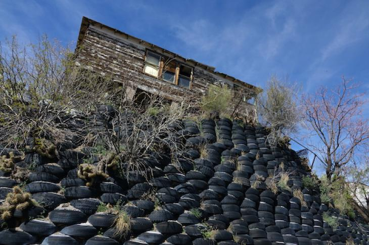 Home built on foundation of tires