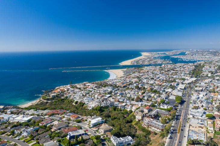 Aerial view of Newport Beach, California