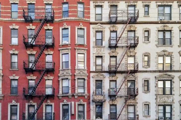 Closeup of historic New York City apartment buildings
