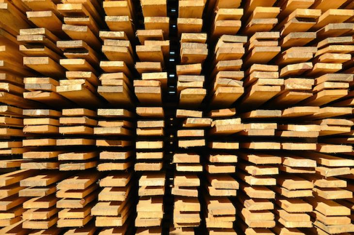 Up-close shot of stacked wood