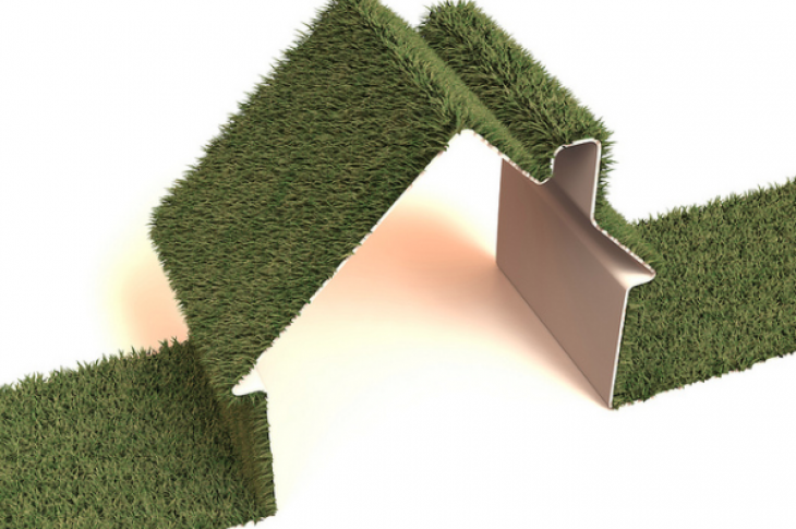 Stylized image of green grass house-photo flickr user ccPixs.com