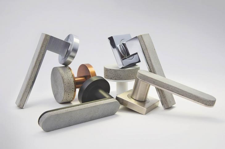 The Bullet & Stone Collection from Australian company Designer Doorware marries concrete and metal in door handles and round knob profiles, melding hot and cold aesthetics and offering a unique tactile experience. The solid brass fittings that back each concrete form are finished in either Florentine Bronze (in a Medium or Dark tone), Polished Nickel, or Satin Black Chrome. Custom finishes for the concrete are available by request.