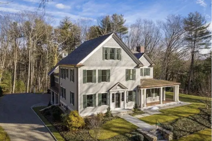 Drone view of Green Phoenix Development's renovation of a century-old New England farmhouse that is certified LEED Platinum