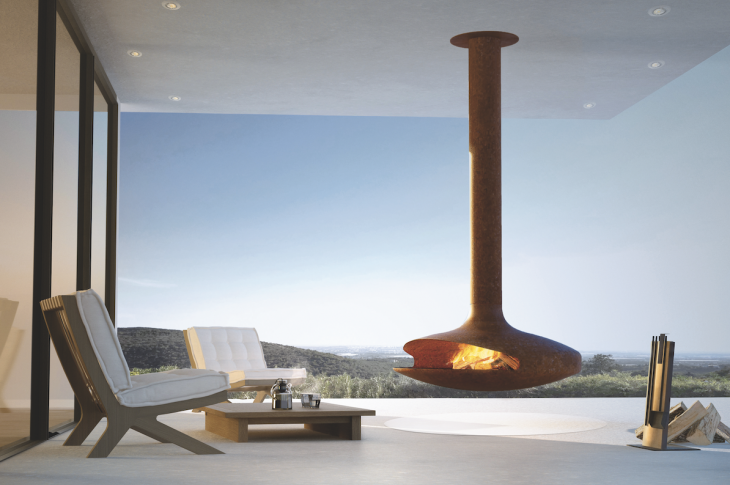 Gyrofocus suspended wood-burning outdoor fireplace by Focus Fires
