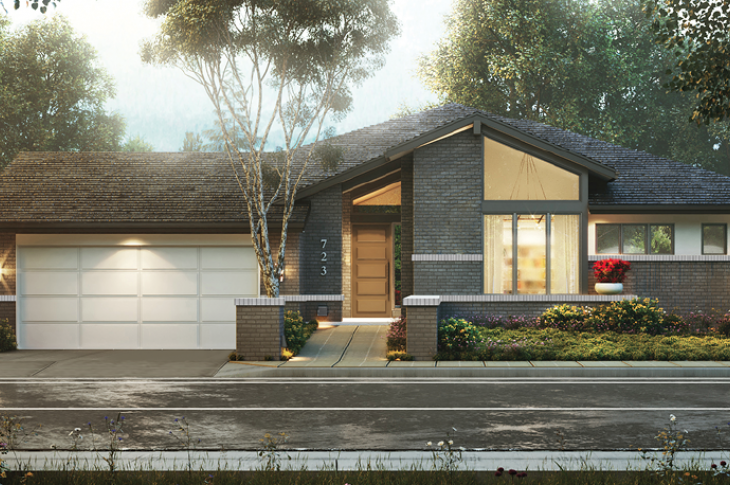 Front elevation of the 55+ Wellness House design by KGA Studio Architects.