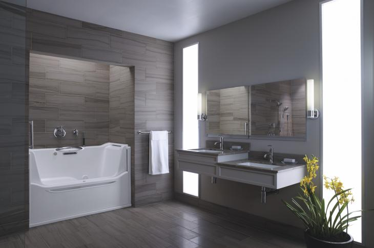 Bathroom with Kohler fixtures showcases universal design features