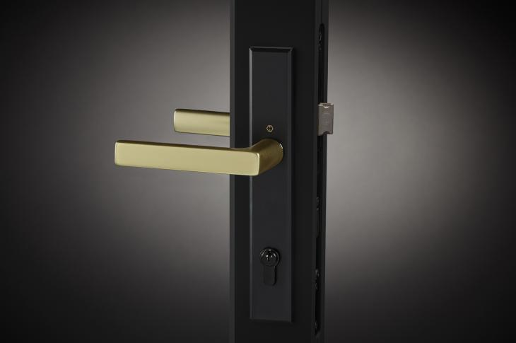 To complement its VistaLuxe collection, Kolbe Windows & Doors launched the two-tone Dallas handleset (shown) for in-swing entrance doors. The Brushed Gold lever complements a Matte Black key cylinder, turn knob, and escutcheon. Kolbe also unveiled the Ashlar crank-out handle for casements and awnings, in Matte Black, Rustic Umber, Satin Nickel, and White finishes.