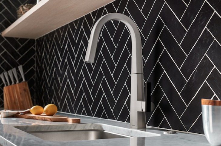 Neo matte black kitchen faucet by Moen