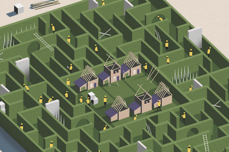 illustrated aerial view of a home building maze
