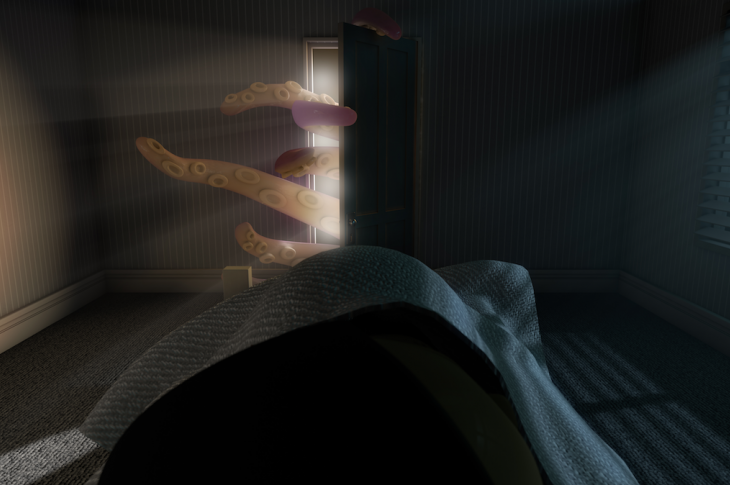 octopus tentacles creeping through door into room at night to attack sleeping figure in bed