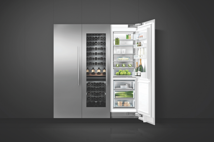 Fisher & Paykel is adding a wine refrigerator to its integrated column appliances. The 24-inch unit accomm­odates at least 90 bottles and features two independent temperature zones, a stainless steel interior, 12 racks, soft-start LED lighting, and a glass door. IBS Booth C5831.