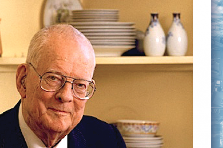Dr. W. Edwards Deming_photos_assembly line background Gui Yong Nian / stock.adobe.com; Deming photo courtesy The W. Edwards Deming Institute
