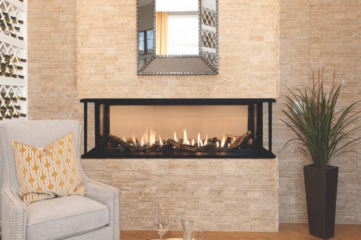 Valor's multisided series of linear radiant gas fireplaces, LX2, is designed for flexible viewing of both its engine options: 3-Sided (shown) and Corner.