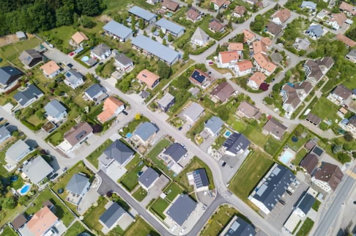 Aerial of neighborhood houses