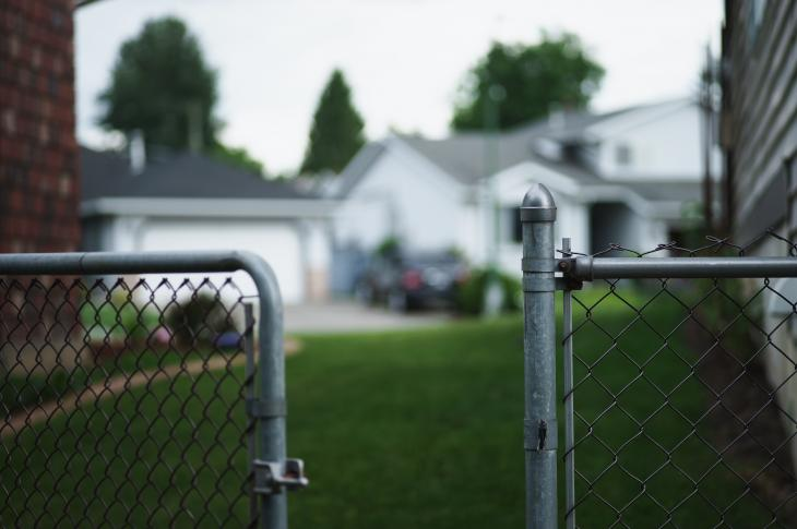 Suburban fence and yard