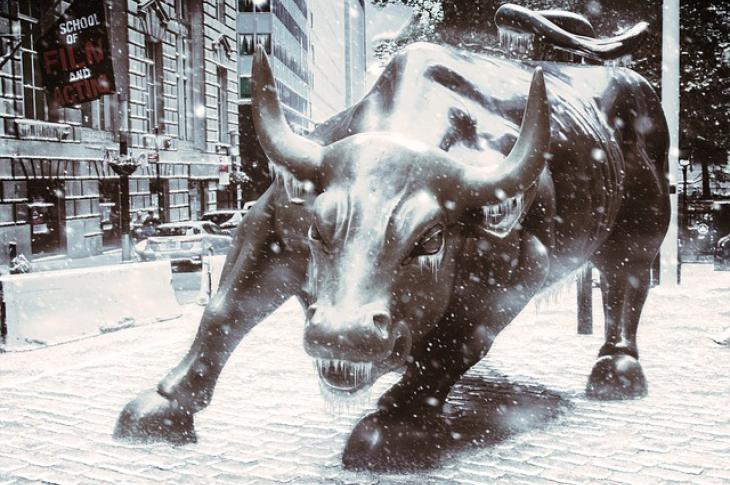 Charging bull Wall Street Great Recession