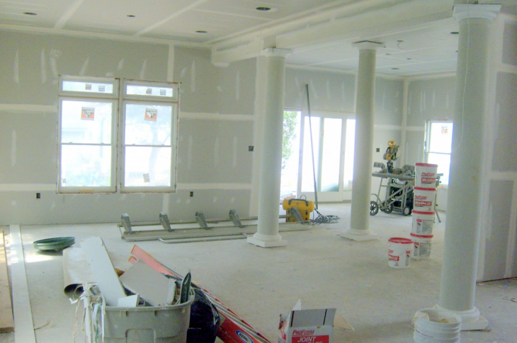 home interior with drywall up by no workers due to coronavirus
