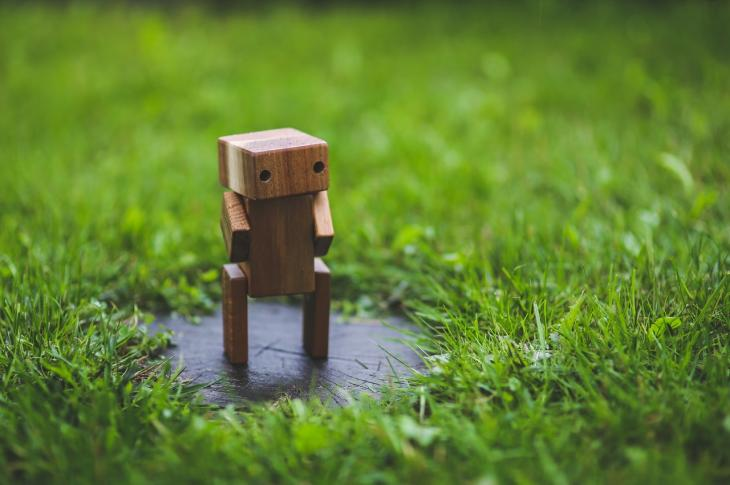Miniature wooden robot