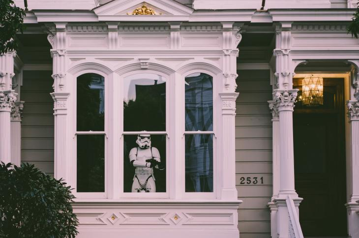 House exterior revealing Star Wars stormtrooper in window