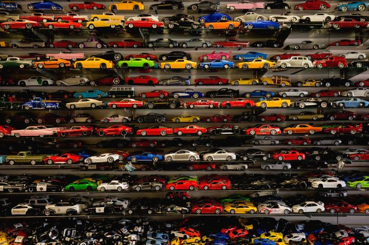 Toy cars on shelves