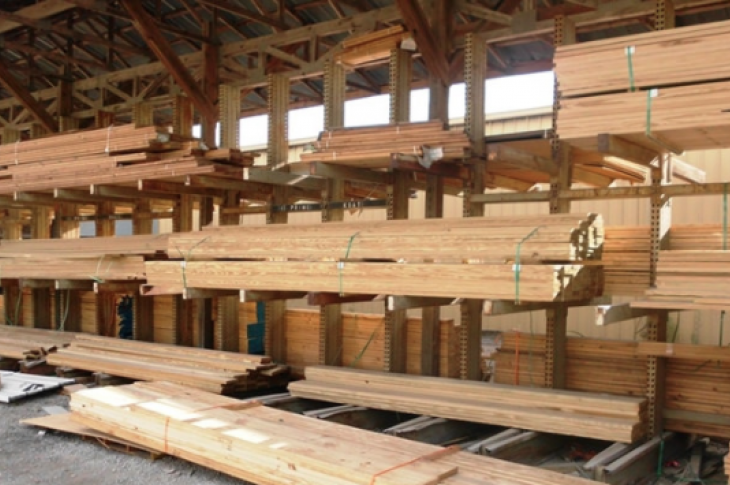 lumber for building houses stacked in the lumberyard
