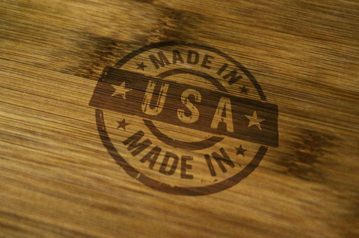 Made in American seal on wood