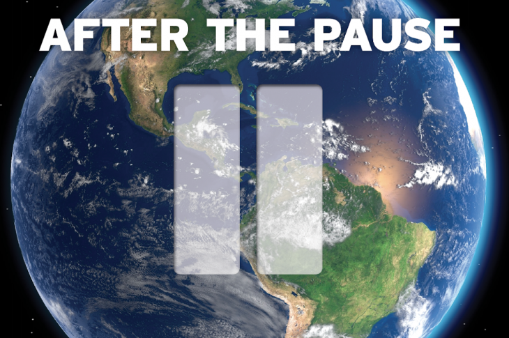 pause button superimposed on planet Earth