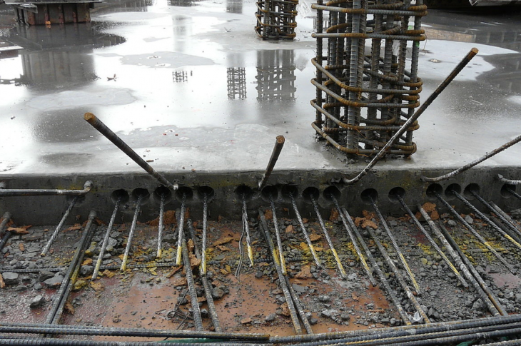 post-tensioned concrete slab foundation during construction