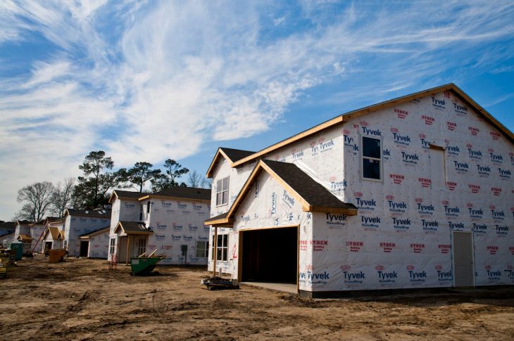 production homes being built with housewrap installed