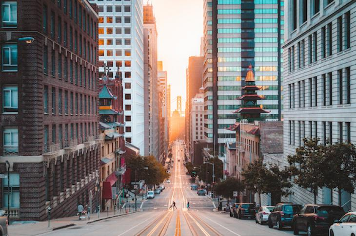 San Francisco street at sunrise