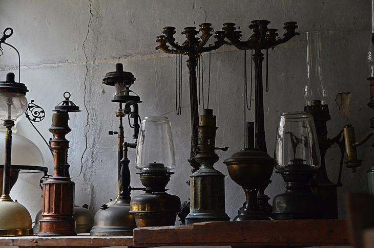 Salvaged candelabra and lighting