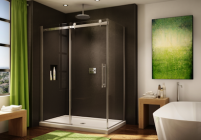 The new Novara line of shower doors offers a sleek, frameless design that comple
