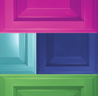 Examples of Wellborn Cabinet bright door colors—pink, teal, lime green, and rich blue.
