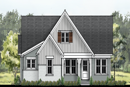 The Modern Farmhouse-style elevation for The Delray house plan