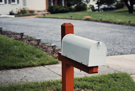 Mailbox in front of single-family home