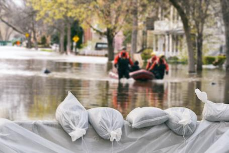 Flooding in a neighborhood due to climate change