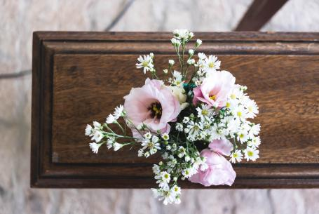 Bouquet of flowers on sideboard