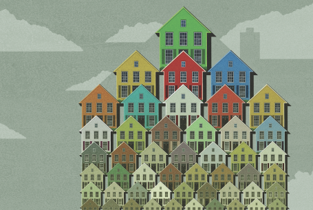 rows of houses in different sizes and colors
