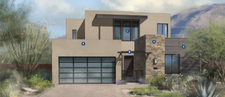 Example of front elevation of home design for The Villas at Seven Desert Mountain