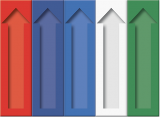 row of red, blue, white, and green arrow pointing upward