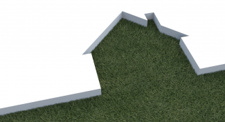 green home cutout with grass