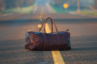 luggage on road