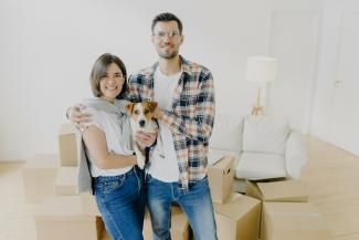 Millennial couple with dog