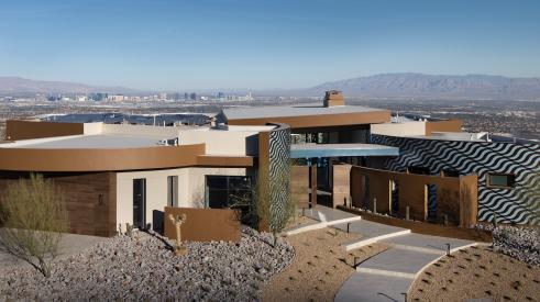 aerial view of exterior of The New American Home 2020 outside of Las Vegas